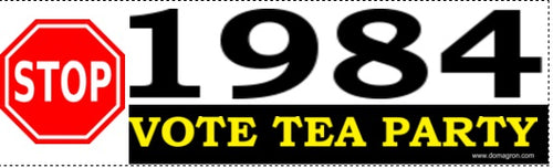 STOP 1984 - Vote Tea Party Bumper Sticker - DOMAGRON