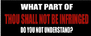 What Part of Thou shall not be infringed Do you Not Understand? Bumper Sticker