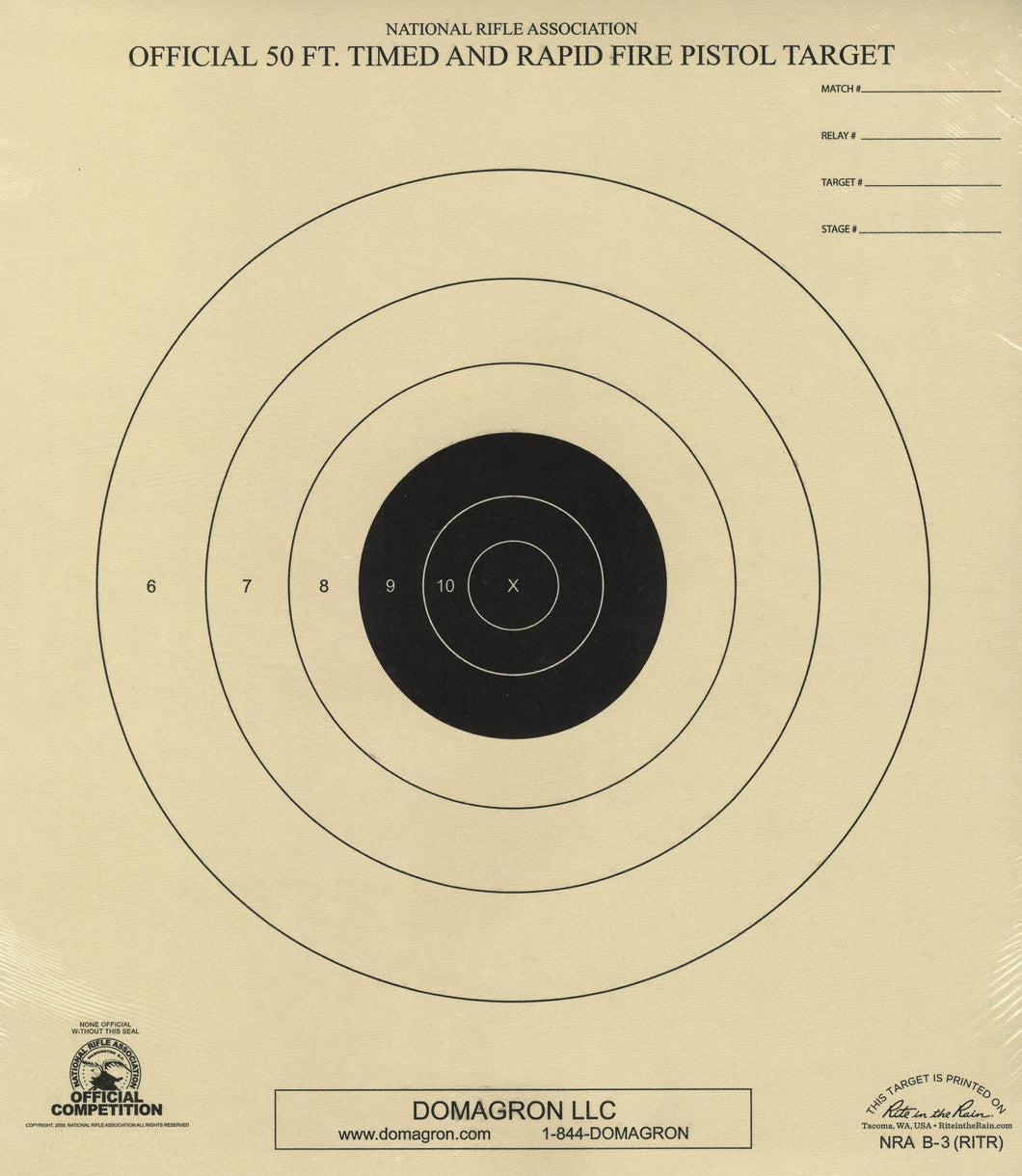 B-3 Weather Resistant 50 Foot Timed and Rapid Fire Pistol Target Official NRA Target (48 Pack) with Rite in The Rain Technology - DOMAGRON