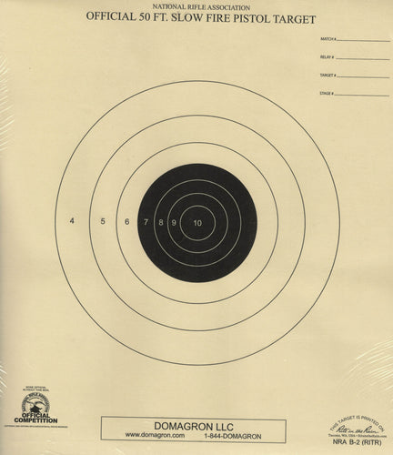 B-2 Weather Resistant 50 Foot  Flow Fire Pistol Target Official NRA Target (48 Pack) with Rite in The Rain Technology - DOMAGRON