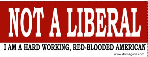 Not a Liberal Bumper Sticker - DOMAGRON
