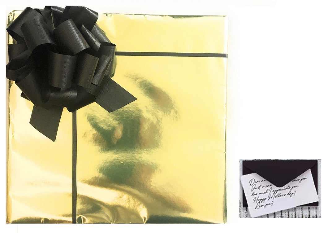 Gift Wrapping - Metallic Gold w/ Black Bow + Card - DOMAGRON