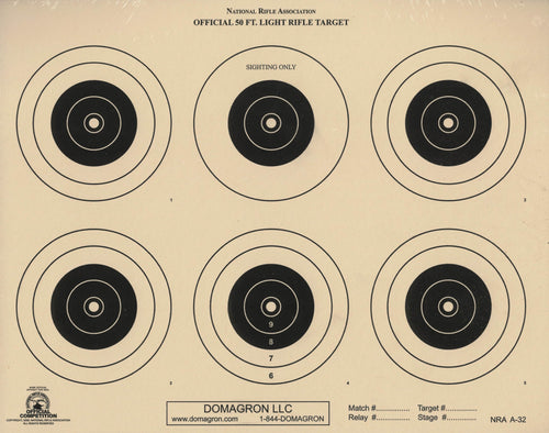 A-32 - 50 Foot Light Rifle Six Bullseye Official NRA Target - DOMAGRON