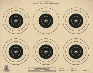 A-32 - 50 Foot Light Rifle Six Bullseye Official NRA Target (Pack of 50)