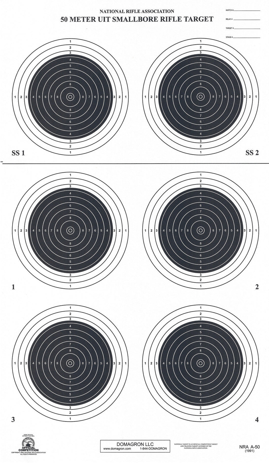 A-50 50 Meter Smallbore Rifle Target (Pack of 100) - DOMAGRON