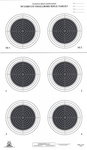 A-51 50 Yard Smallbore Rifle Target (Pack of 100) - DOMAGRON