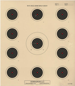A-17 - Red Center 50 Foot Smallbore Rifle Target (Pack of 100) - DOMAGRON