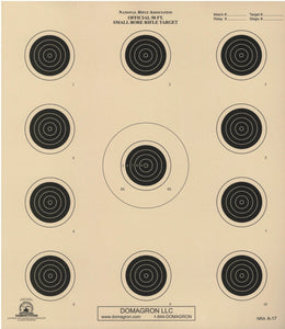 A-17 - Official 50 Foot Smallbore Rifle Target (Pack of 50)