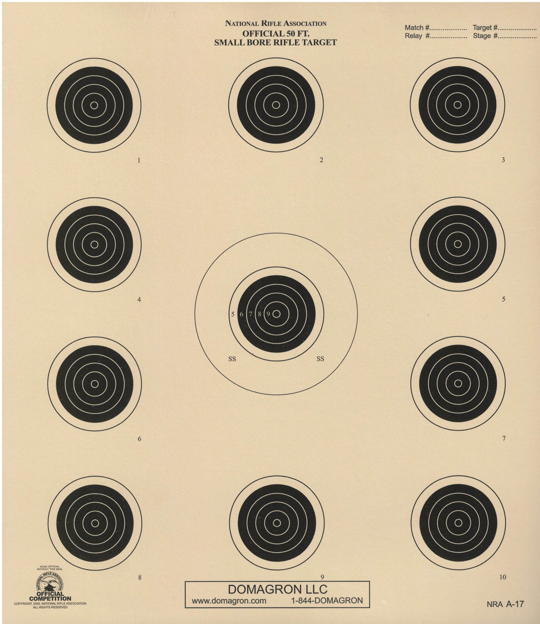 A-17 - Official 50 Foot Smallbore Rifle Target - DOMAGRON