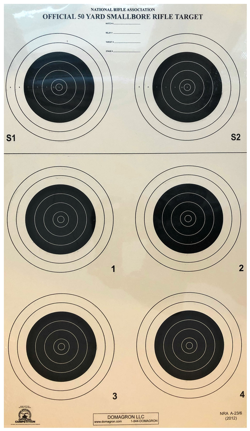 A-23/6 50 Yard Smallbore Rifle Target (Pack of 100) - DOMAGRON