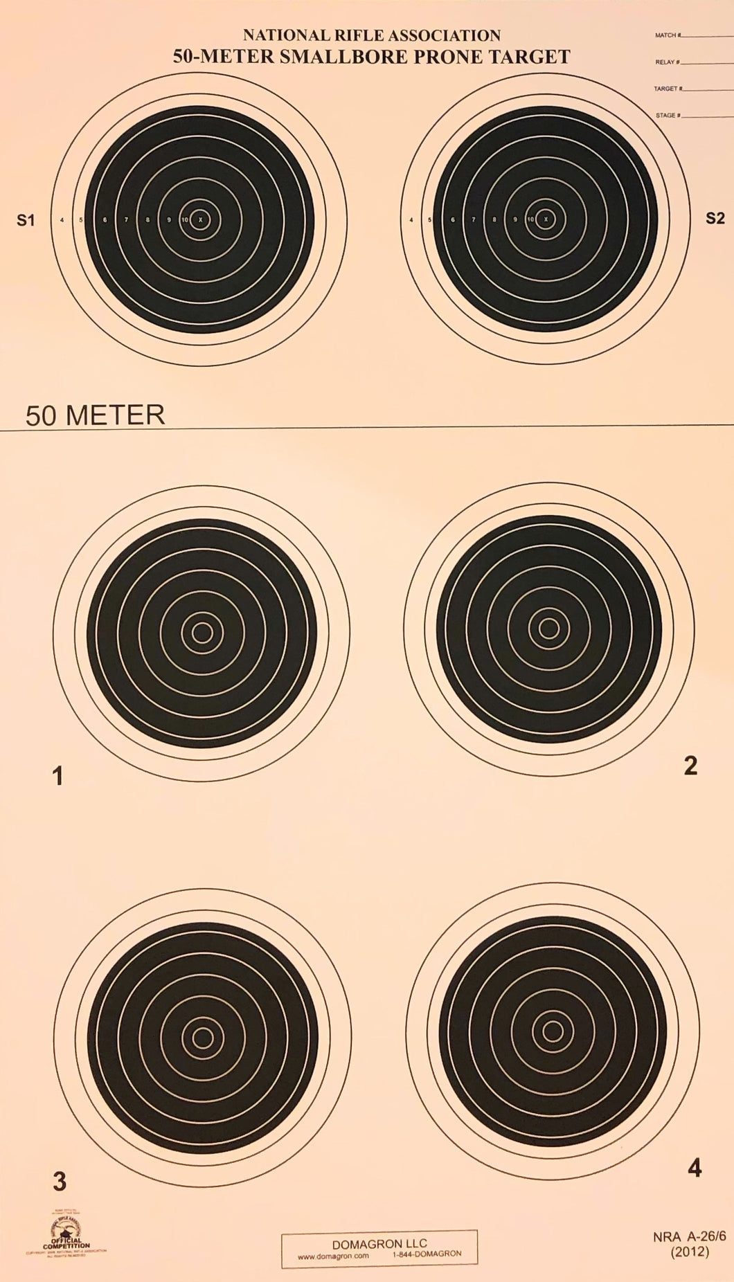 A-26/6 50 Meter Smallbore Rifle Target (Pack of 100) - DOMAGRON