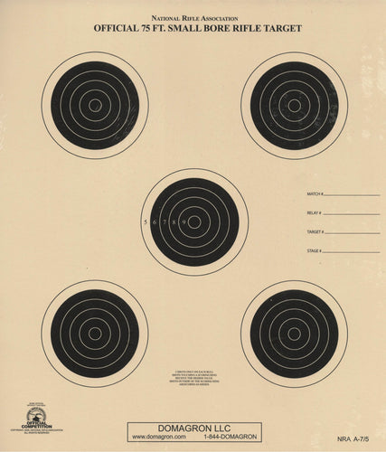 A-7/5 - 75 Foot Small Bore Rifle Target (Pack of 100)
