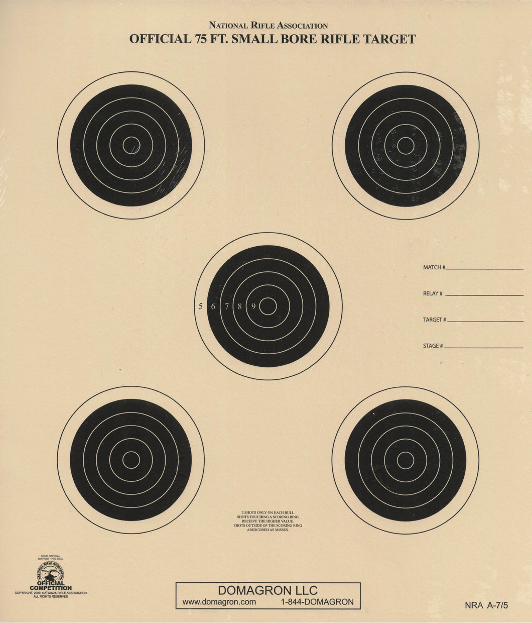 A-7/5 - 75 Foot Small Bore Rifle Target (Pack of 100) - DOMAGRON