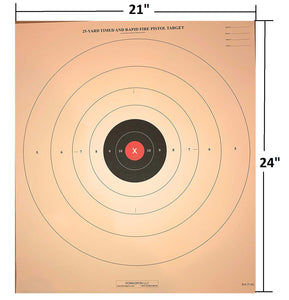 B-8 - Red Center Variant of the 25 Yard Timed Slow and Rapid Fire Pistol Target  (Pack of 100) - DOMAGRON