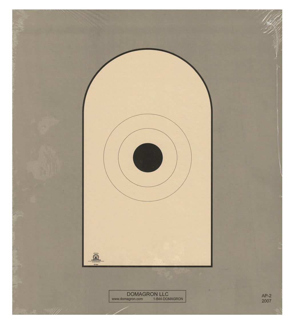 AP-2 - Bianchi Cup Black Center Official 50 Foot Reduction NRA Target of AP-1 Target (Pack of 50) - DOMAGRON