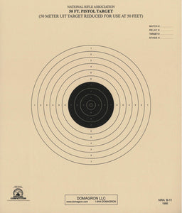 B-11 - 50 Foot Reduction of 50 Meter UIT Slow Fire Pistol Target Official - DOMAGRON