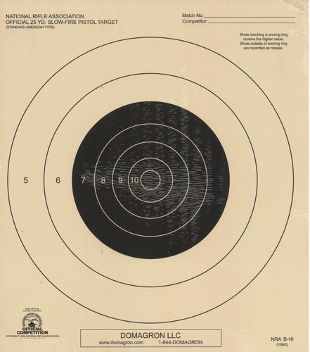 B-16 - 25 Yard Slow Fire Pistol Target Official NRA Target - DOMAGRON