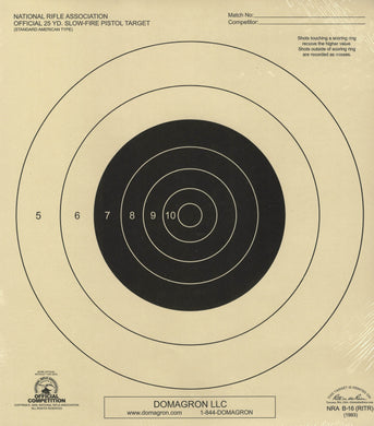 B-16 Weather Resistant 25 Yard Slow Fire Pistol Target Official NRA Target (48 Pack) with Rite in The Rain Technology - DOMAGRON