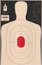 Load image into Gallery viewer, B-27- E 50 Yard Reverse Silhouette Target w/ Red Center- (Pack of 100) - DOMAGRON