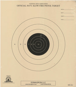 50 Foot Slow Fire Pistol Target Official NRA Target B-2  (Package of 50)