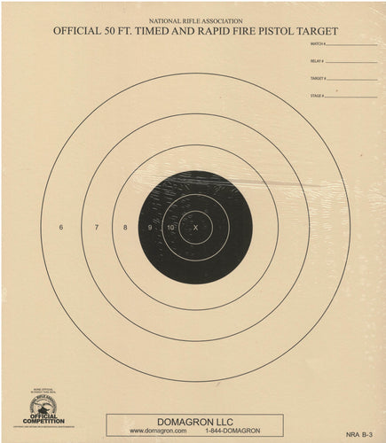 50 Foot Timed and Rapid Fire Pistol Target Official NRA Target B-3 (50 Pack)