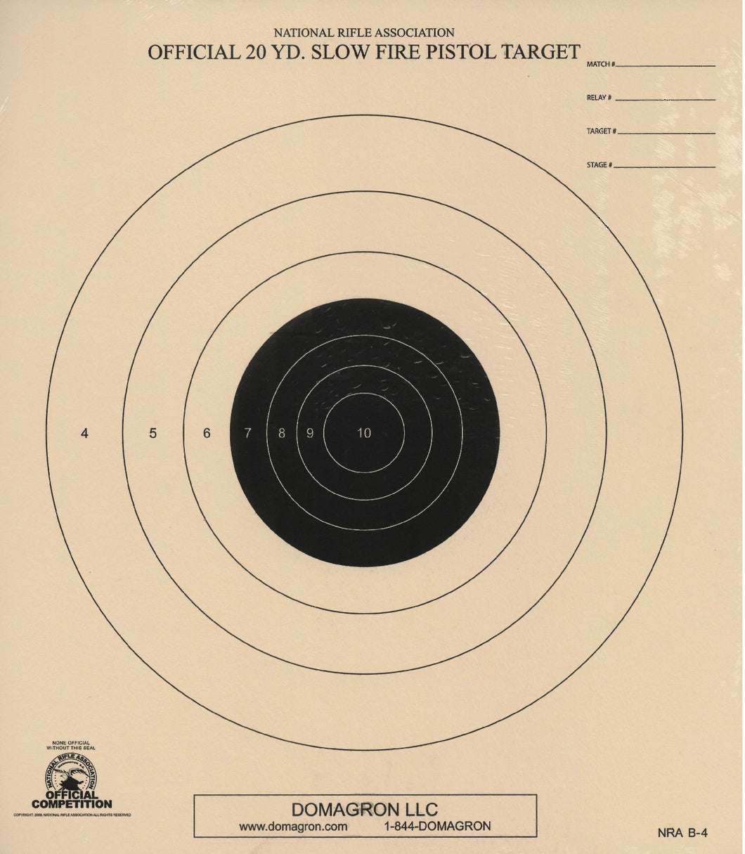 B-4 - 20 Yard Slow Fire Target Official NRA Target (Pack of 50)