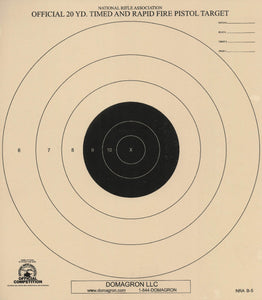 B-5 - 20 Yard Timed and Rapid Fire Pistol Target Official NRA Target  (Pack of 50)