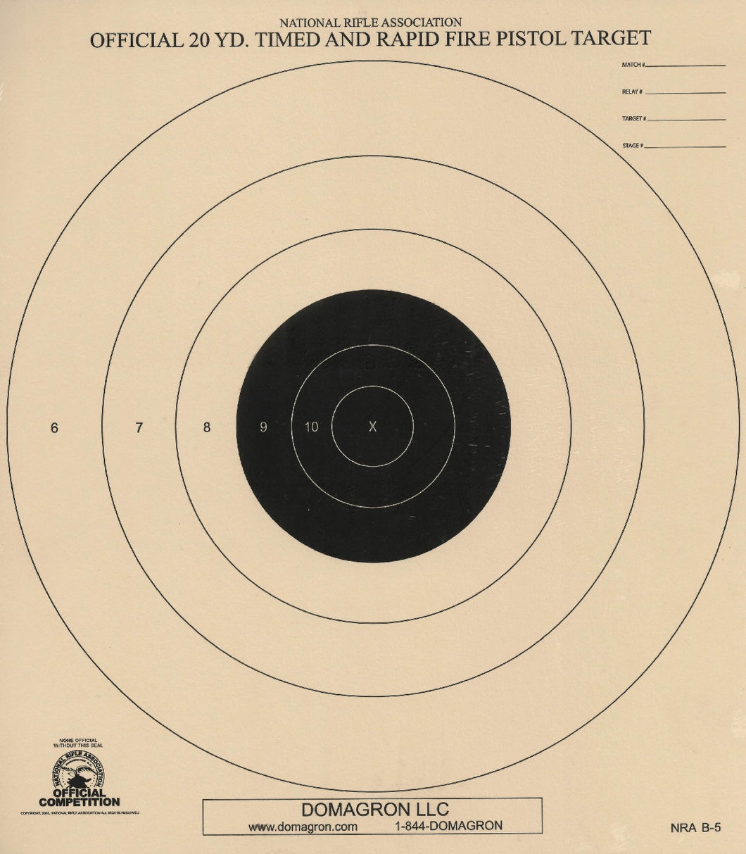 B-5 - 20 Yard Timed and Rapid Fire Pistol Target Official NRA Target - DOMAGRON
