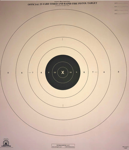 B-8 - 25 Yard Timed Slow and Rapid Fire Pistol Target Official NRA Target (Pack of 100) - DOMAGRON