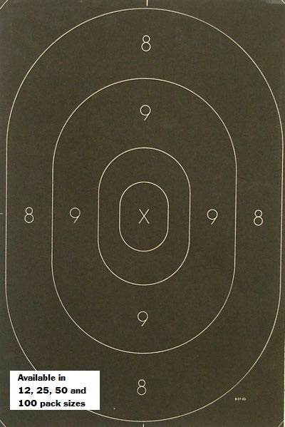 Police Standard Silhouette Target Center Replacement for the NRA B-27 Target- Black Rendition - Offi