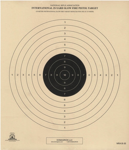 B-35 Official NRA Target- 50 Meter International Slow Fire Target Reduced for Use at 25 Yards (Pack 0f 100)