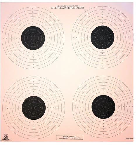 10 Meter (33 Ft.) Air Pistol 4 Bullseye Official NRA Target B40/4 (pack of 100)