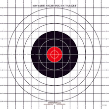 Load image into Gallery viewer, ST-3RC - 100 Yard Rifle Sighting Target with Red Center (Pack of 100) - DOMAGRON