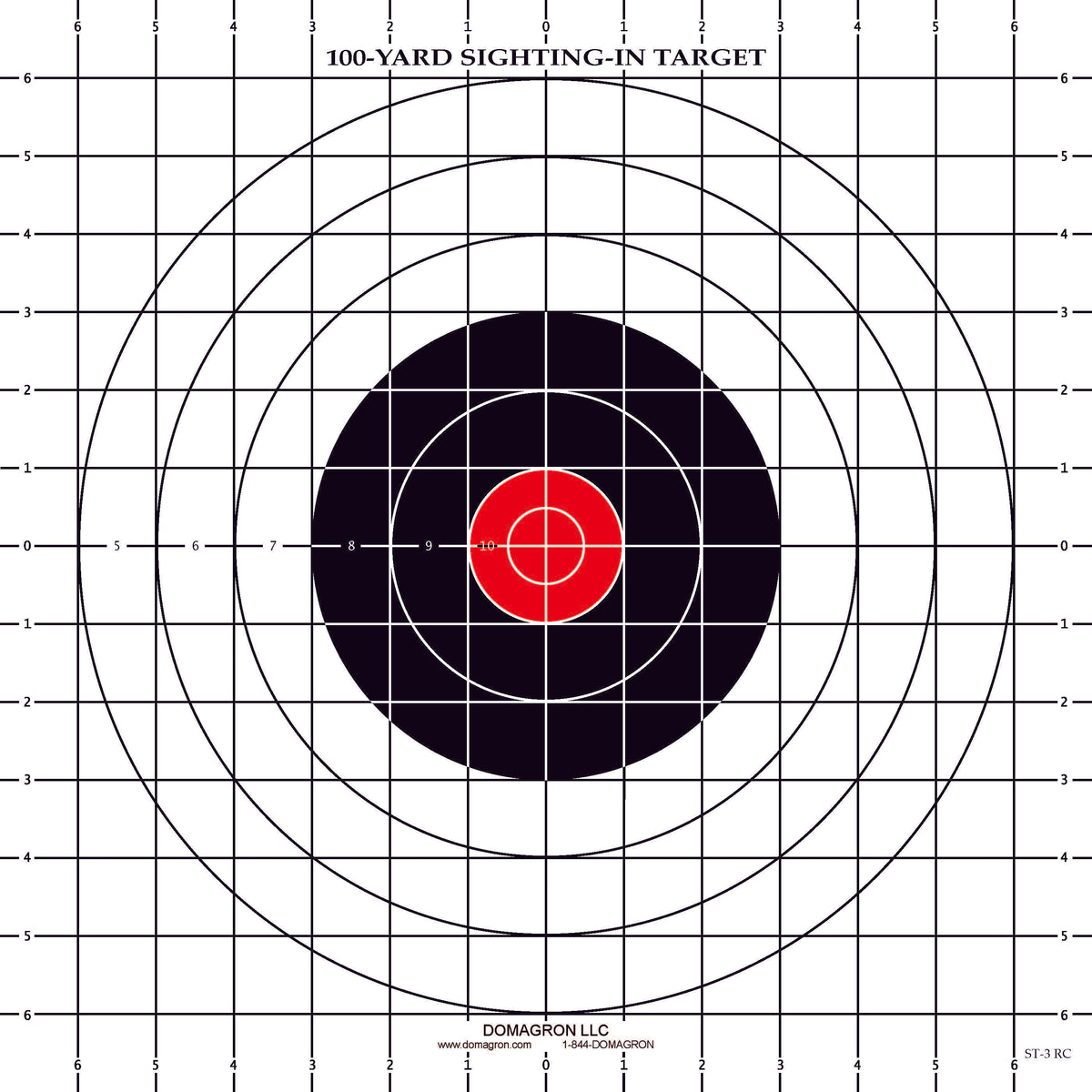 100 Yard Rifle Sighting Target With Red Center