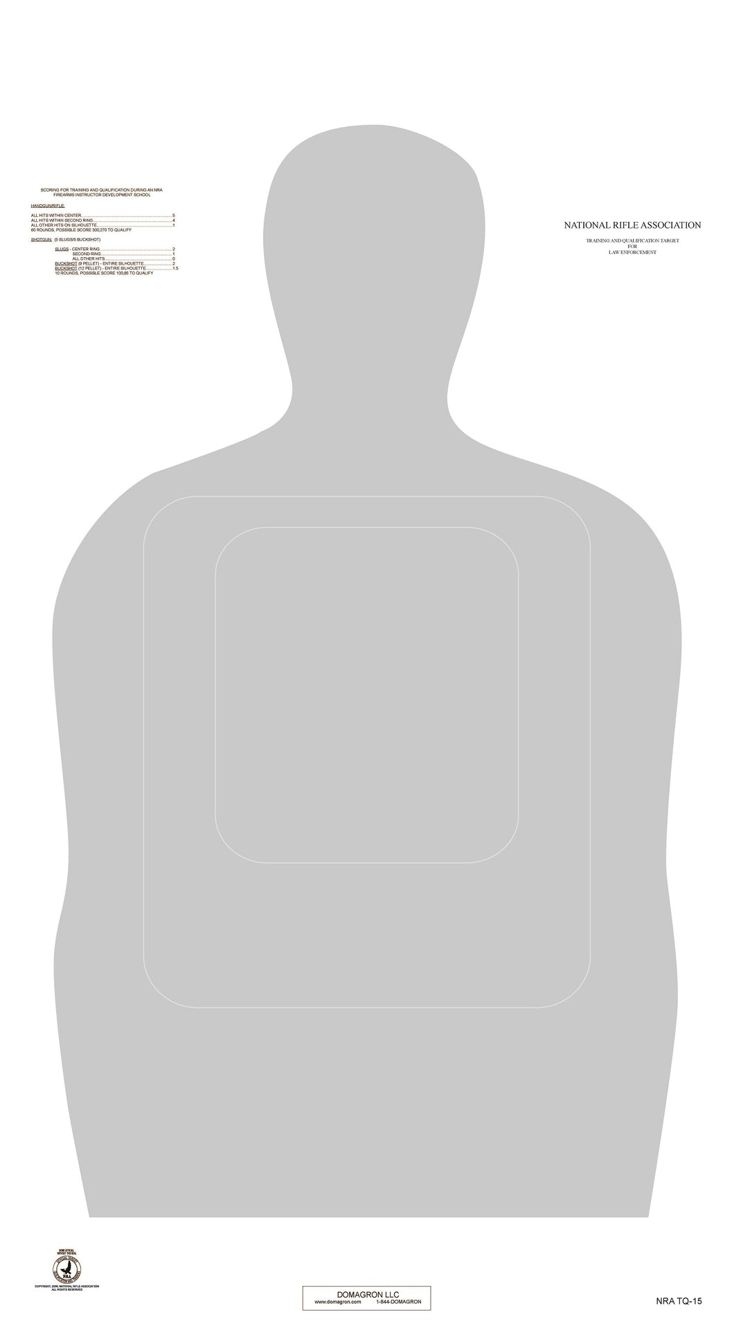 TQ-15 25 Yard Official NRA Police Training and Qualification Target (pack of 100) - DOMAGRON