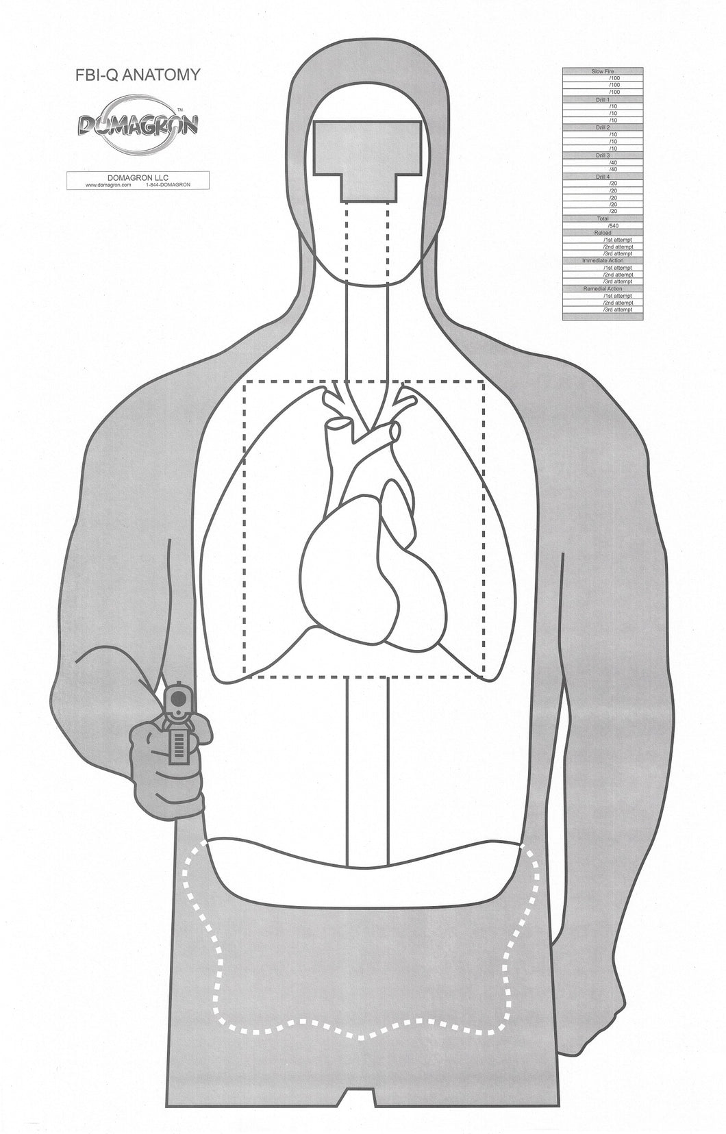 FBI Q Anatomy Target 23 x 35 (Pack of 100) - DOMAGRON