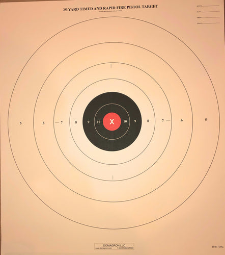 B-8 - Red Center Variant of the 25 Yard Timed Slow and Rapid Fire Pistol Target  (Pack of 100)