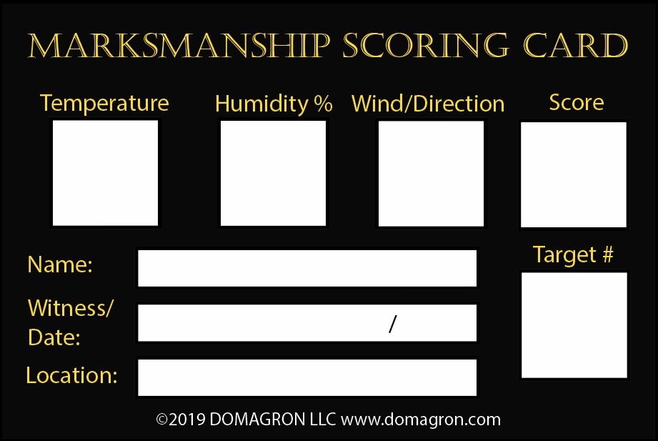 Marksmanship Scoring Card Label (Pack of 100) - DOMAGRON