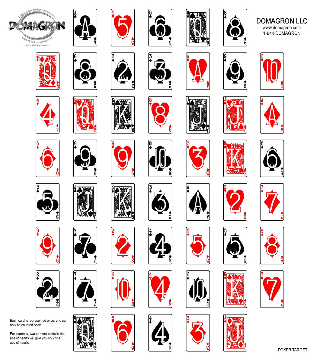 Deck of Cards Poker Shooting Target (100 Pack) - DOMAGRON