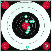 Load image into Gallery viewer, Green Fluorescent Reactive Target - 25 Yard Slow Fire Pistol Target B-16 (24 Pack)