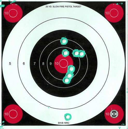 Green Fluorescent Reactive Target - 25 Yard Slow Fire Pistol Target B-16 (24 Pack) - DOMAGRON