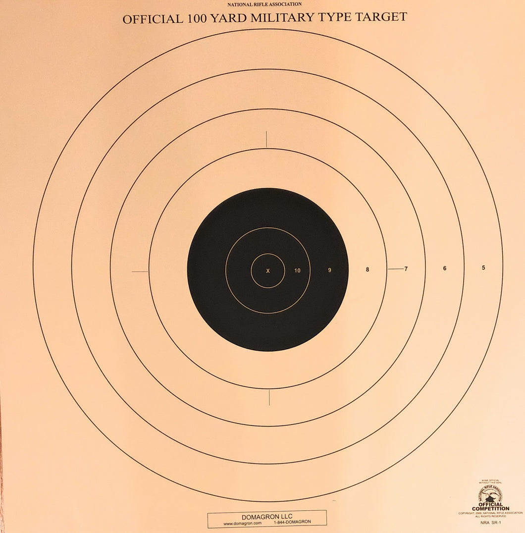 SR-1 - 100 Yard Reduction of 200 Yard Rifle Target (Pack of 100)