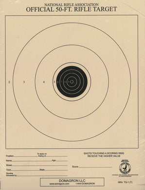 50 Foot Small Bore Single Official NRA Target - TQ-1/1(T) - 100 Pack