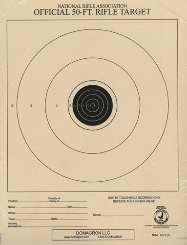 TQ-1/1 - 50 Foot Small Bore Single Official NRA Target - DOMAGRON