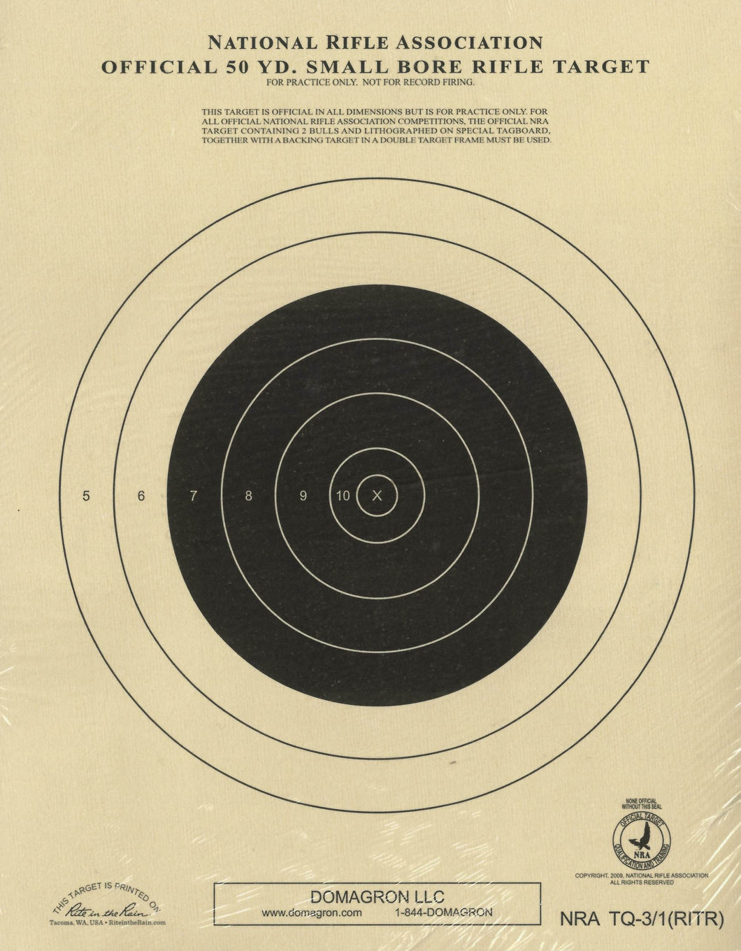 TQ-3/1 Weather Resistant 50 Yard Small Bore Rigle Target Official NRA Target (48 Pack) with Rite in The Rain Technology