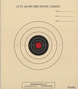 TQ-6 - 25 Foot Slow Fire Pistol Target with Red Center (Pack of 100) - DOMAGRON