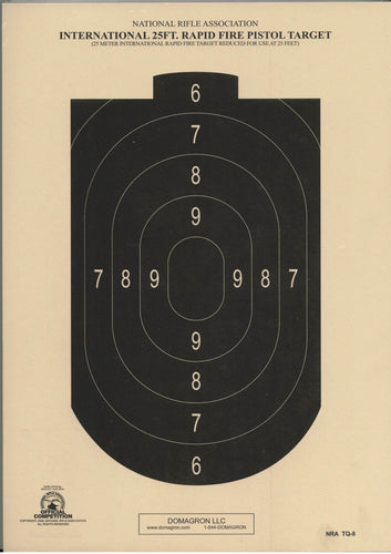 TQ-8 NRA Official 25-Foot Rapid Fire Airgun Target (pack of 100) - DOMAGRON