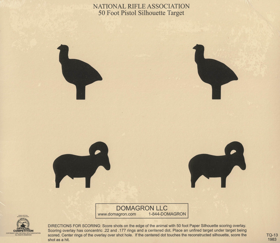 TQ-13 - 50 Foot Pistol Animal Silhouette Target (pack of 100) - DOMAGRON
