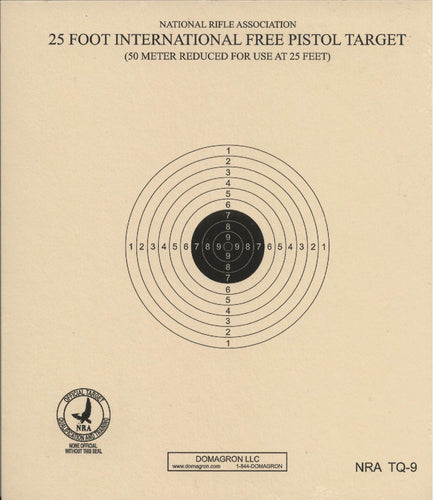 TQ-9 - 25 Foot International Free Pistol Target Official NRA Target (Pack of 100) - DOMAGRON
