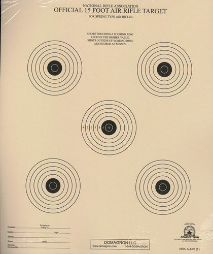 15 Foot Air Rifle Five Bulleye Official NRA Target (A 44/5) Package of 50